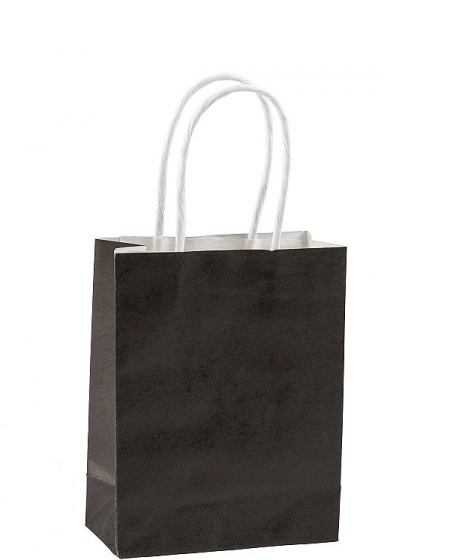 NATURAL KRAFT PARTY LOOT BAGS BLACK WITH HANDLE - PACK OF 12