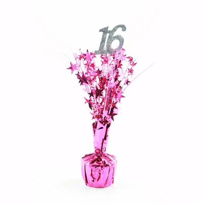 16TH BIRTHDAY PARTY WEIGHTED CENTREPIECE - HOT PINK