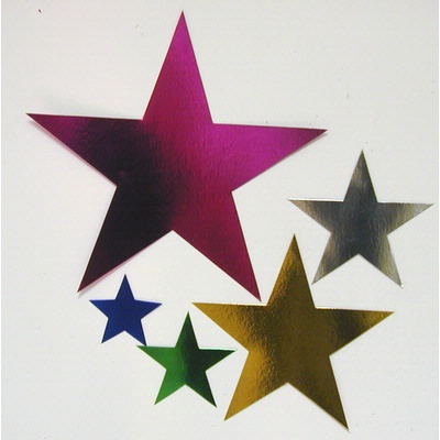FOIL CARDBOARD CUT-OUT STARS (14.5cm) PACK 12