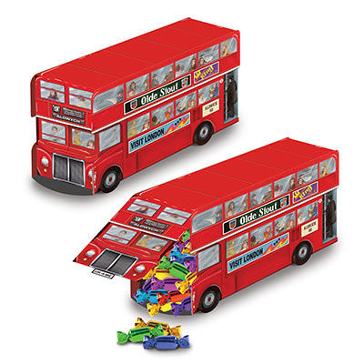 BRITISH DOUBLE DECKER BUS PARTY FAVOUR BOX/ TABLE CENTREPIECE