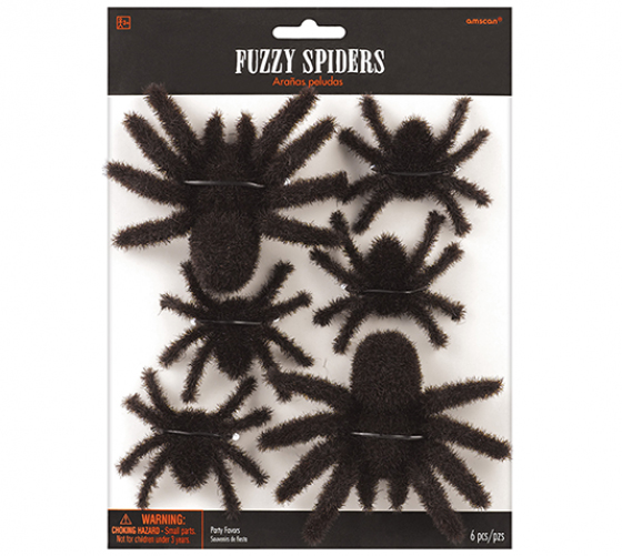 SPIDER - FUZZY HAIRY SPIDER FAVOURS - PACK OF 6