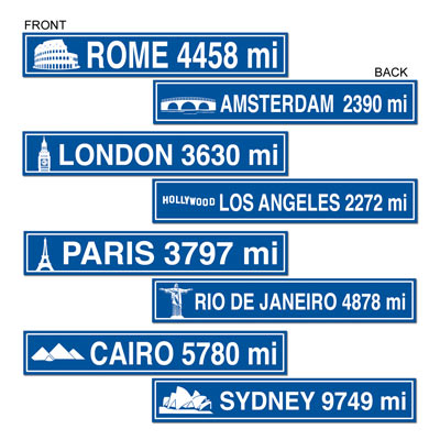 INTERNATIONAL TRAVEL STREET SIGNS PACK OF 4
