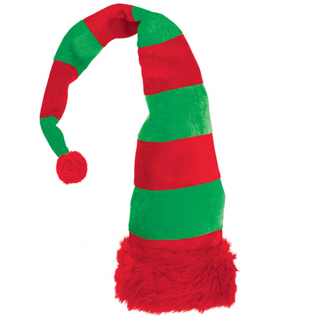 ELF STRIPED HAT PLUSH RED & GREEN