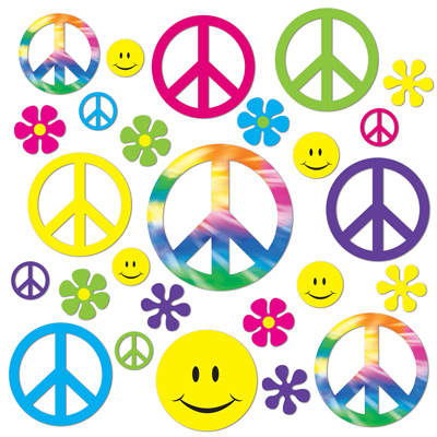 Image of Retro Hippie 60's Cutouts Pack Of 42