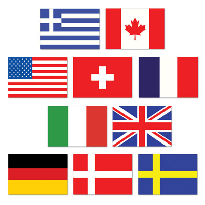 INTERNATIONAL FLAG CUT OUTS - PACK OF 10