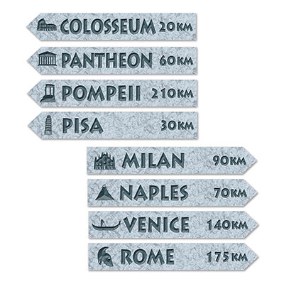 ITALIAN STREET SIGNS - PACK OF 4