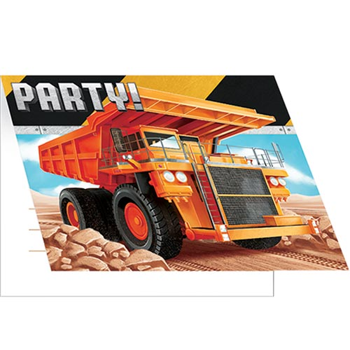 BIG DIG CONSTRUCTION INVITATIONS - PACK OF 8