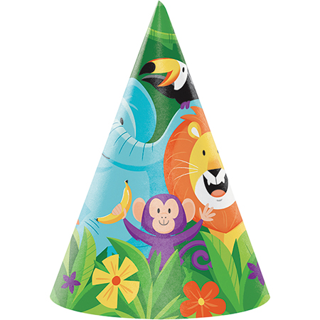 JUNGLE SAFARI ADVENTURE PARTY CONE HATS - PACK OF 8
