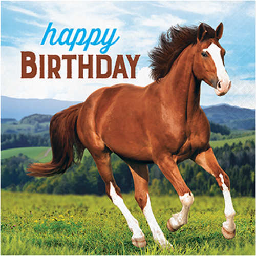 WILD HORSES 'HAPPY BIRTHDAY' LUNCH NAPKINS - PACK OF 8