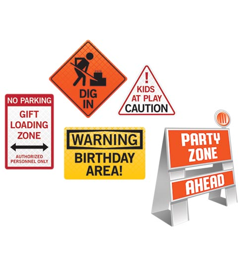 BIG DIG CONSTRUCTION DECO KIT - EASEL & WALL SIGNS PACK 5