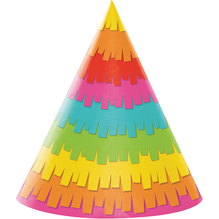 MEXICAN FIESTA FUN PARTY CONE HATS PACK OF 8