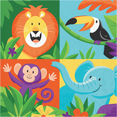 JUNGLE SAFARI ADVENTURE NAPKINS - PACK OF 16