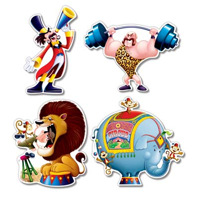 CIRCUS PERFORMERS CUTOUTS - PACK OF 4