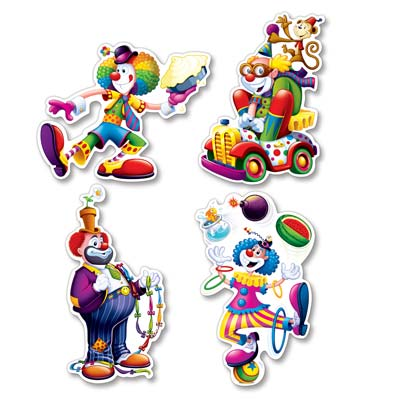 CIRCUS CLOWN CUTOUTS - PACK OF 4