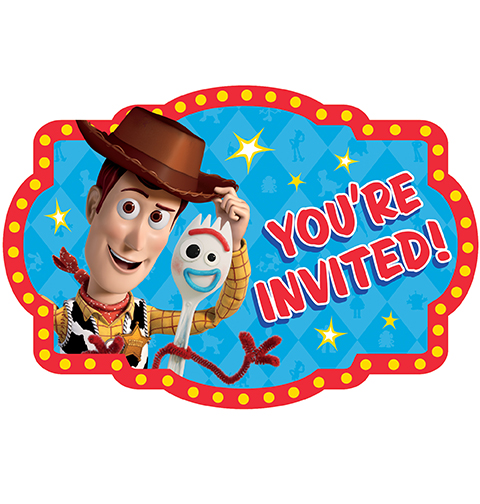 TOY STORY 4 PARTY INVITATIONS - PACK OF 8