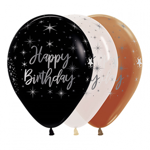 BALLOONS LATEX - HAPPY BIRTHDAY METAL SILVER INK PACK 25