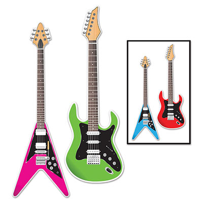 ROCK GUITAR CUT OUTS PACK OF 2