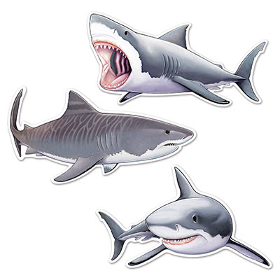 SHARK CUT OUTS PACK OF 3