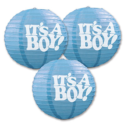 IT'S A BOY BLUE CHINESE LANTERN - PACK OF 3