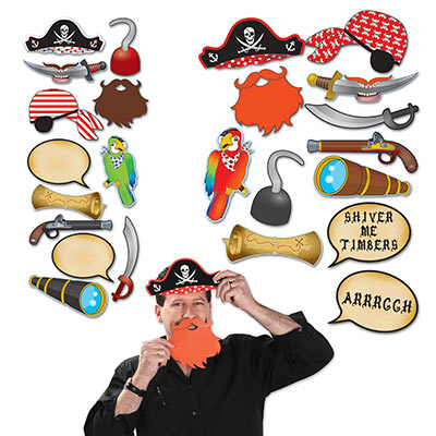 SELFIE PHOTO BOOTH PROPS - PIRATE PACK OF 12