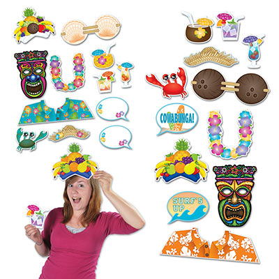 SELFIE PHOTO BOOTH PROPS - HAWAIIAN PACK OF 12