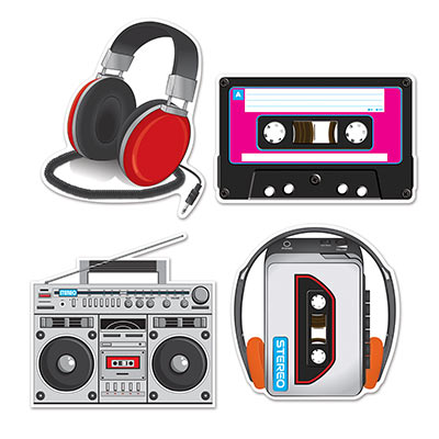 80'S CASSETTE PLAYER CUT OUTS - PACK OF 4