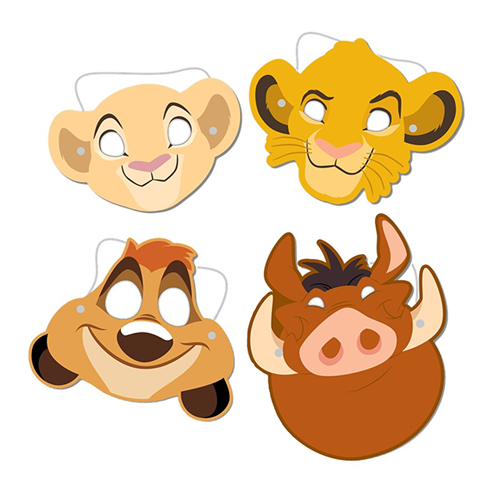 LION KING PARTY MASKS - PACK OF 8