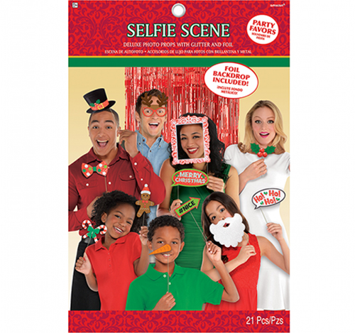 SELFIE PHOTO BOOTH PROPS - CHRISTMAS FUN PK 20 WITH RED CURTAIN