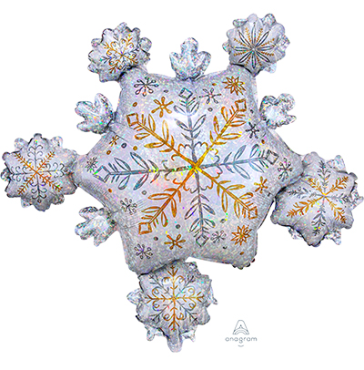 FOIL SUPER SHAPE BALLOON - SHINING SNOWFLAKE CLUSTER