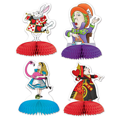 ALICE IN WONDERLAND HONEYCOMB CENTREPIECES - PACK OF 4