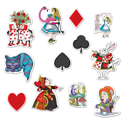ALICE IN WONDERLAND CUT OUTS - PACK OF 12
