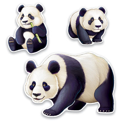 ASIAN PANDA CUT OUTS - PACK OF 3
