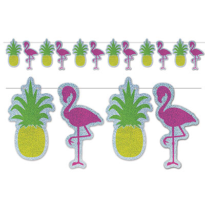 FLAMINGO & PINEAPPLE GLITTER STREAMER