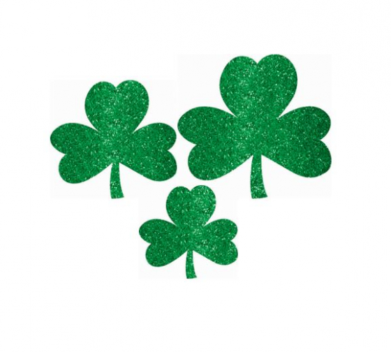SHAMROCK GLITTER CUTOUTS PACK OF 10