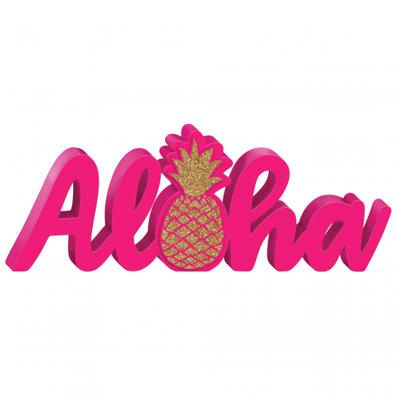 ALOHA GLITTERED MDF STANDING SIGN