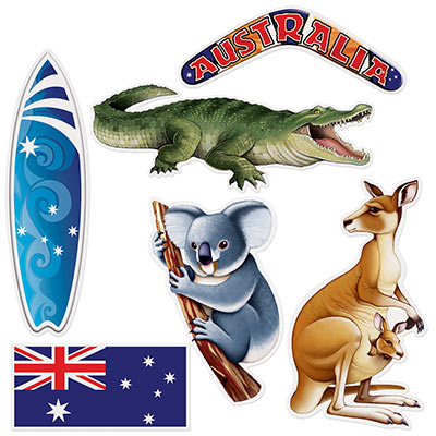 AUSTRALIA DAY THEMED CUT OUTS PACK OF 6