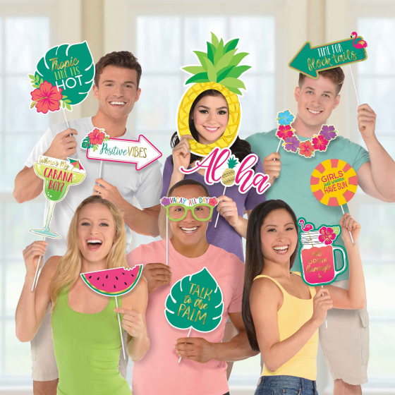 SELFIE PHOTO BOOTH PROPS - HAWAIIAN JUMBO SIZED PACK OF 12