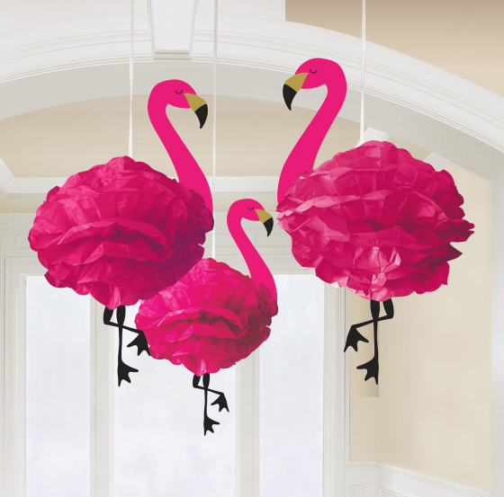 FLAMINGO FLUFFY HANGING HONEYCOMB DECORATIONS - PACK OF 3