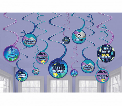 FORTNITE BATTLE ROYALE BIRTHDAY HANGING SWIRLS - PACK OF 12