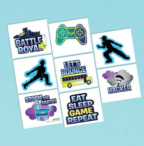FORTNITE BATTLE ROYALE TATTOOS PARTY FAVOURS