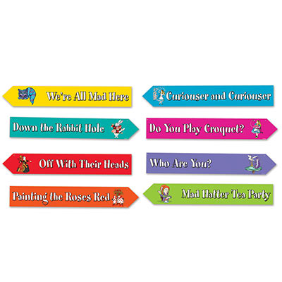 ALICE IN WONDERLAND STREET SIGNS - PACK OF 4