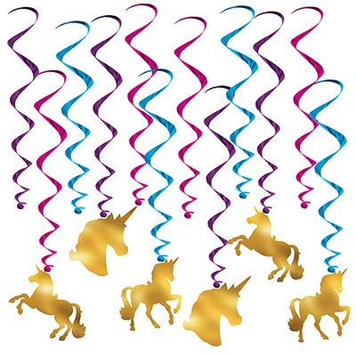 UNICORN HANGING WHIRLS - PACK OF 12