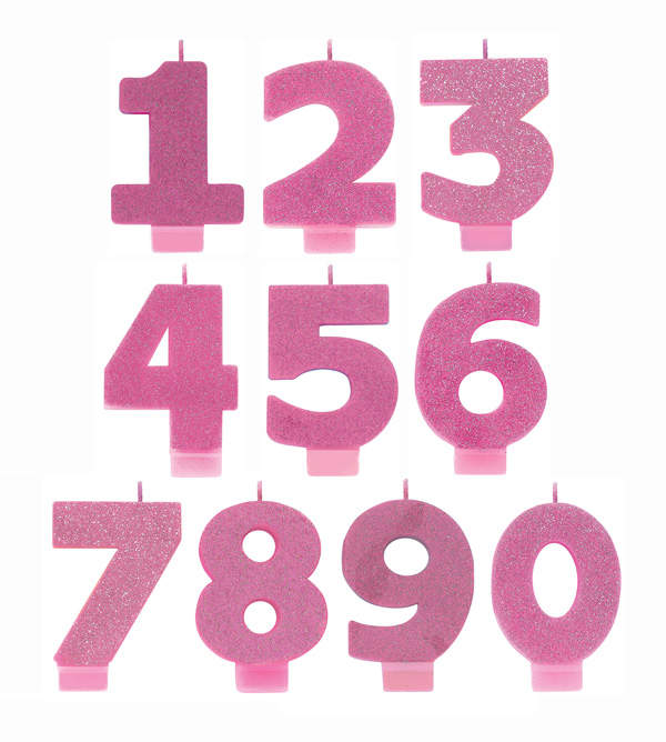 NUMERICAL CANDLES - GLITTER PINK - NUMBERS 0-9