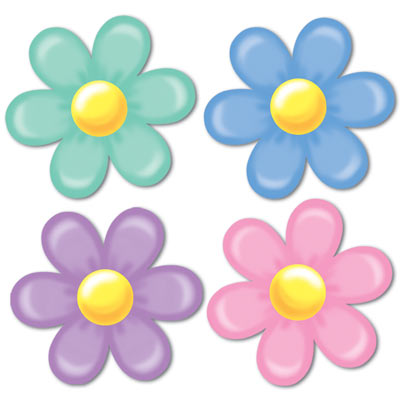 RETRO HIPPIE FLOWER CUTOUTS - PACK OF 4