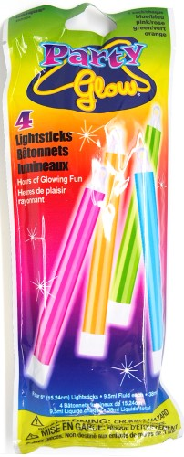 PARTY GLOW IN THE DARK LIGHT STICKS - PACK OF 4