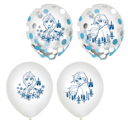 BALLOONS LATEX - DISNEY FROZEN 2 CONFETTI FILLED PACK OF 6