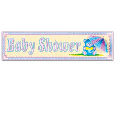 BABY SHOWER UNISEX SIGN WITH TISSUE PARASOL