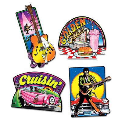 Image of Rock 'n Roll Cut Outs  Pack Of 4