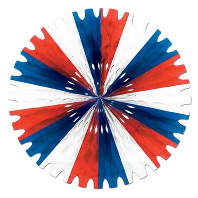 DECORATIVE FAN - RED, WHITE & BLUE 63CM