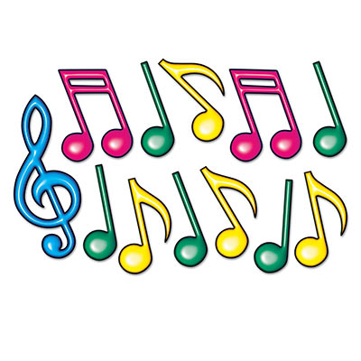 MUSICAL NEON NOTES CUTOUTS - PACK OF 12